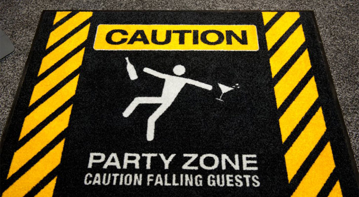 Image: Caution party zone floor mat. Themed events by Benchmarc360.